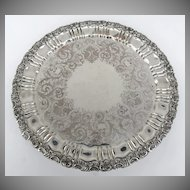 "Large 20"" diameter Sheffield Silverplated Acanthus Leaf Footed Tray"