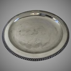 Vintage Round Silver Plate Tray with Gadrooned Edge 15""