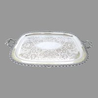 Large Silver Plated on Copper Tray by Wilcox Shell