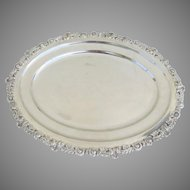 English Oval Platter Silver Plate with Flower Motif