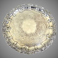 English Silver Plate footed Salver Ellis Barker 1912