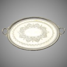Silver Plated Oval 19th Century Aesthetic Serving Tray