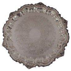 "Vintage 17"" Wallace 1960's Chippendale Footed Round Silver Plated Tray"