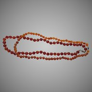 Two Vintage Hand Knotted Carnelian Bead Necklaces Banded