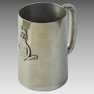 1900's King's College Silver Plated Tankard Mug