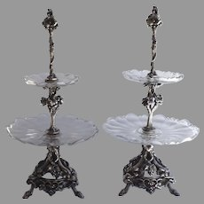 Pair of Silver Plated Christofle, Paris Dessert Stands Candelabras  c 1870