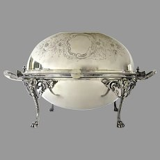 Elkington Silver Plated Revolving Server with Hot Water Reserve c 1850 Lion Heads
