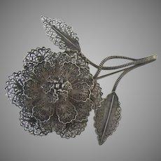 Vintage Silver Filagree Flower Pin Brooch