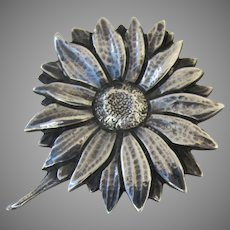Vintage Nussbaum and Hunold N & H Sterling Sunflower Pin Brooch