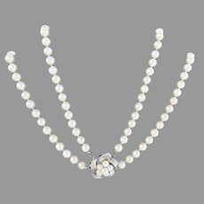 Vintage  Japanese Akoya Pearl Necklaces Necklace with 14K Clasp