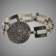Vintage 80's Sterling Silver Aztec Disc Calendar Link Bracelet 925