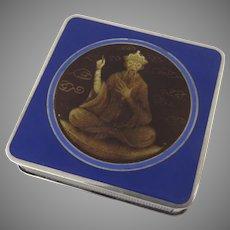 French Silver Enamel Signed Compact Gold Wash Confucius Wise Man AUGUSTE LEROY  Rue Réaumur 22, Paris