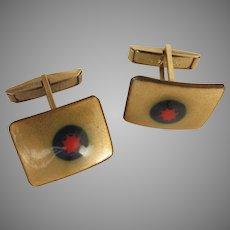 Vintage Mid Century Copper Enamel Cufflinks