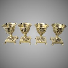 Set of Four English Sheffield Plate Neoclassical Urn Shaped Salts