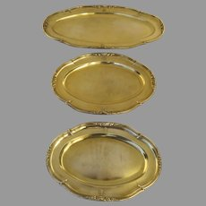 Set of Three Silver Sterling Gilt French Platters by Gustave Keller, Keller Frères (Paris, 1881-1922)