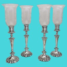 Set of Four (4) Large Ellis Barker 1920's Silver Plated Candlesticks with Two Sets Hurricane Shades