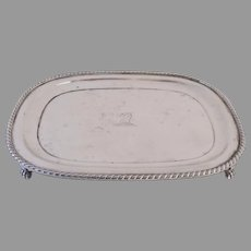 Old Sheffield Silver Plated Fused Small Salver Tray Armorial Engraved Paw Feet