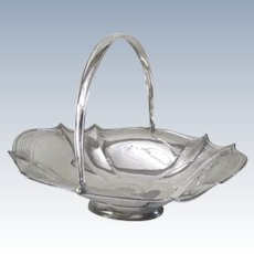 English Sterling Silver Large Swing Handle Basket c 1805 by Thomas Harper