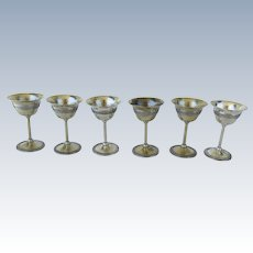 Set of 6 Silver Plated Goblets by Apollo Wine Hammered Engraved