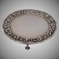 S. Kirk & Sons Sterling Silver Repousse Card Tray Salver Footed