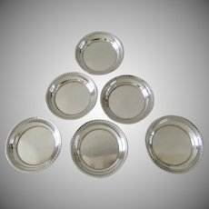 Set of Six (6) Sterling Silver Small Dishes Nut Coasters c 1949