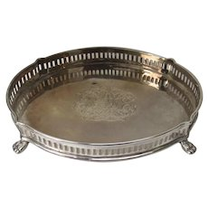 Vintage Silver Plated Small Gallery Tray with Paw Feet