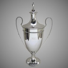 English Sterling Lidded Urn Trophy By Crichton Brothers C.1896