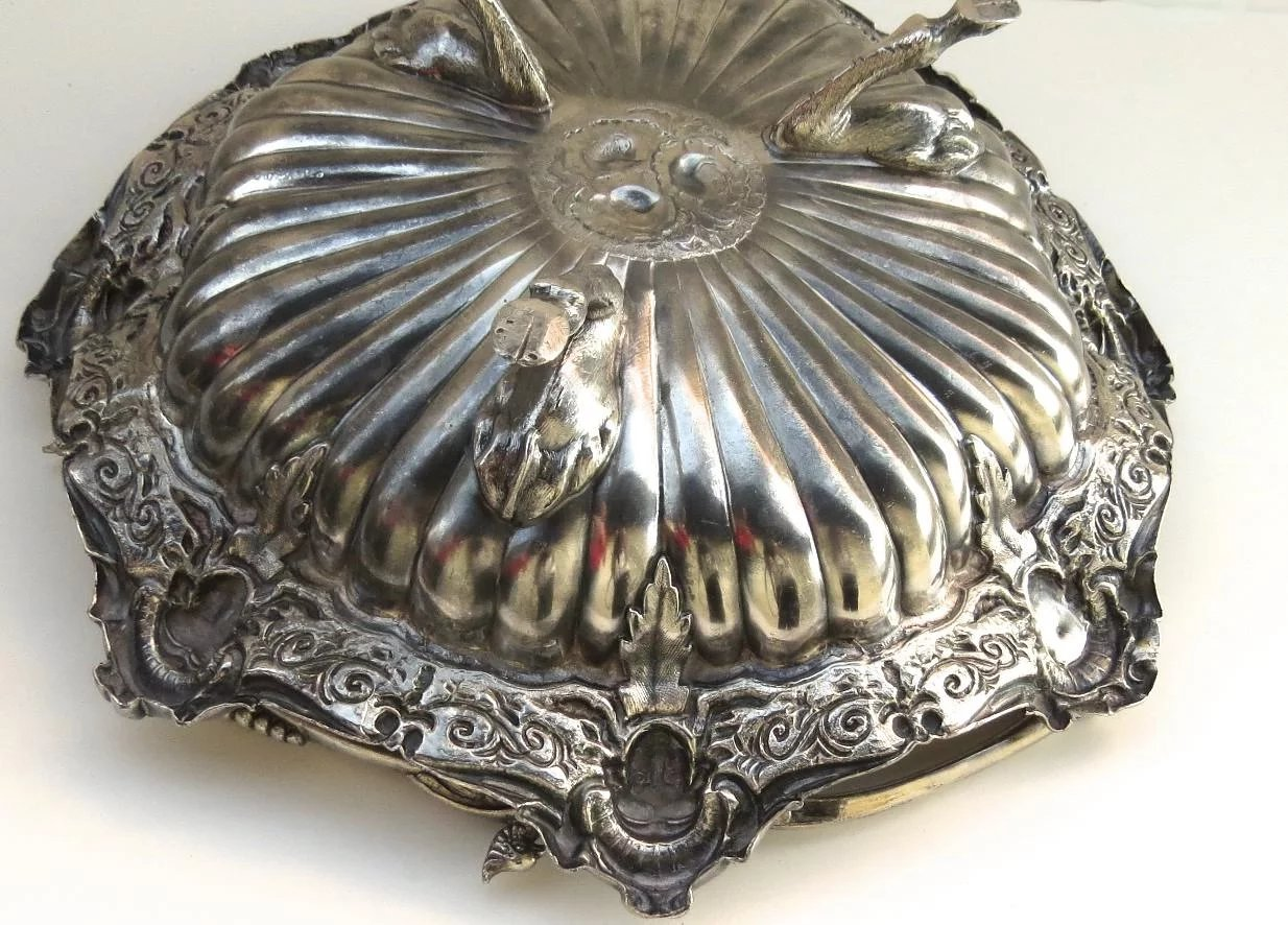 Silver Plate Swing Handle Basket W Medallions Women S Faces With Black Tulip Antiques Ltd