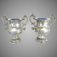 Pair of Sheffield Plate Wine Coolers Urn Shaped with Handles C.1820
