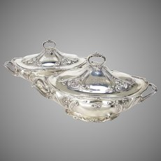 Pair Gorham Sterling Silver Vegetable Covered Dishes with Handles C.1881