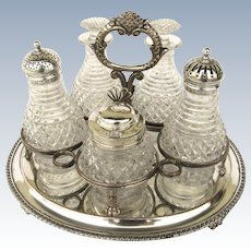C 1813 Century Plate 5-Piece Cruet Set Sterling Silver Mounts by Smith & Tate %& Co. Sheffield Stand