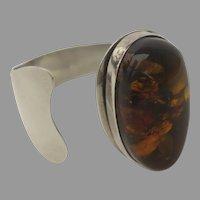 Vintage Sterling Silver 925 Honey Amber Set Stone Cuff Bangle Bracelet