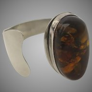 Vintage Sterling Silver 925 Honey Amber Set Stone Cuff Bangle Bracelet
