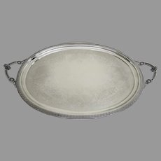 19th Century Oval Large Silver Plated Tray Faces Greek Key