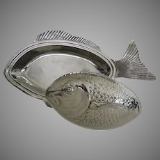 Dramatic Large Silver Plated Fish Covered Platter Dish Serving Made in Spain