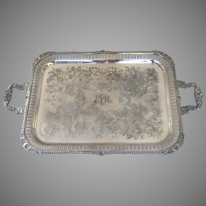 Vintage Large Silver Plated Serving Tray Made By Cavalier Black Tulip Antiques Ltd Ruby Lane