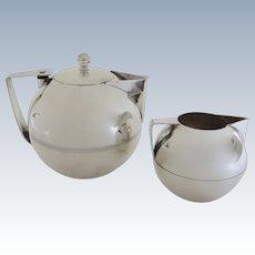 Napier Art Deco Silver Plated Coffee Pot Teapot and Stackable Creamer Sugar by James H. Napier
