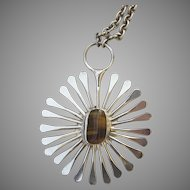 Vintage 1970s Jacob Hull Necklace Denmark Modernist Sunburst Pendant