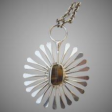 Vintage 1970s Jacob Hull Necklace Denmark Modernist Sunburst Pendant