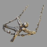 Vintage Necklace Pendant Brutalist Woman Free Spirit