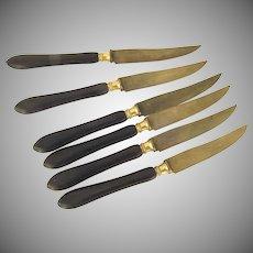 Vintage Fruit Knives Rosewood Gold Ferrels Set of Six