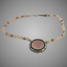 Native American Delbert Delgarito Sterling Silver Pink Quartz Vintage Necklace Beads Navajo