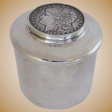 Vintage Sterling Silver Paperweight by Baldwin & Miller B & M 1879 Morgan Silver Dollar