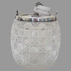 English Cut Glass Silver Plated Biscuit Jar Barrel Tea Dog Novelty