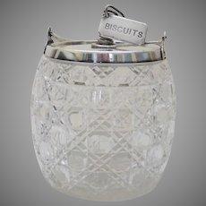 English Cut Glass Silver Plated Biscuit Jar Barrel Tea Dog Novelty