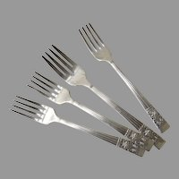 4 x Vintage Community Silver Plate Salad Forks Coronation Pattern