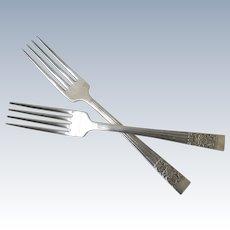2 x Vintage Community Silver Plate Coronation Dinner Forks