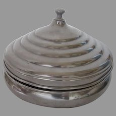 Vintage 1920's National Pewter Condiment Relish Lidded Dish
