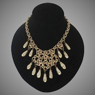 """Vintage """"Bergere"""" Necklace Statement with Faux Tear Drop Pearls Gold Chain"""