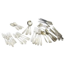 Set of Silver 925 Sterling Swiss Flatware with Serving Pieces Custom Handmade Hammered Pounded Planished Finish 74  Pieces